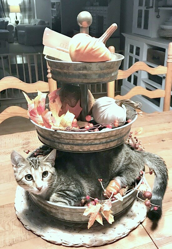DIY Fall decorated three tiered tray for fall