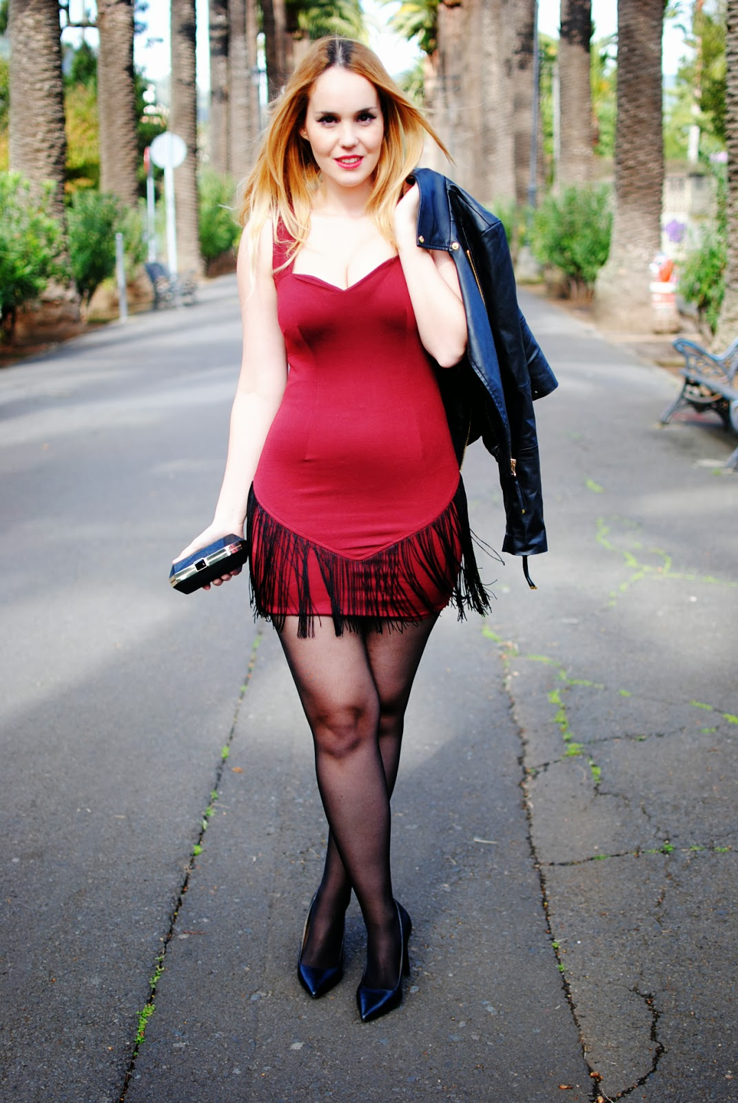 nery hdez, dress, fringes dress, leather jackets, blonde, san valentine , valentine's day look