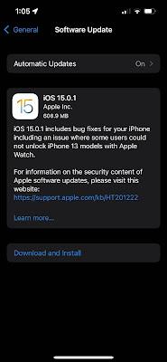 Software Update iOS 15.0.1