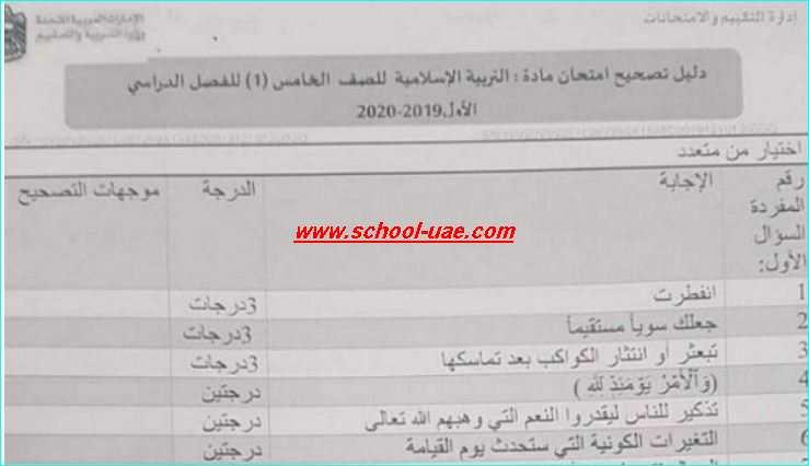 دليل تصحيح الامتحان الوزارى  تربية اسلامية للصف الخامس فصل اول 2020- مدرسة الامارات