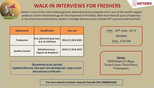 Hetero Labs Limited - Walk-in for Fresher's for Production, Quality Control