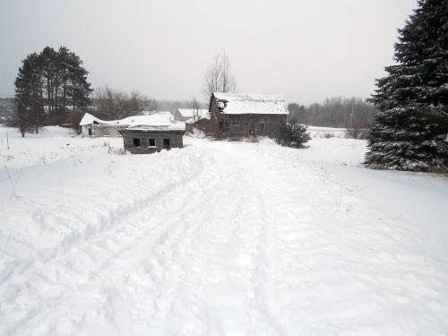 snow shoveled driveway