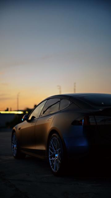 Tesla Wallpaper, Black Car, Side View Free HD
