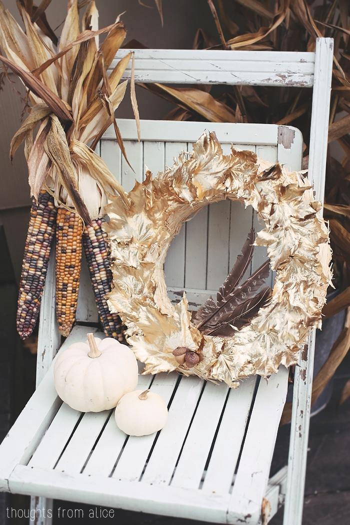 Great Fall display woth gold leaf wreath