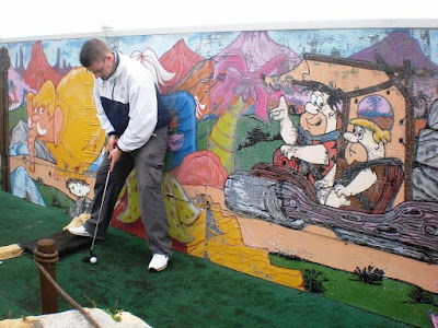 The Flintstones Crazy Golf course in Bowleaze Cove, Weymouth. October 2009