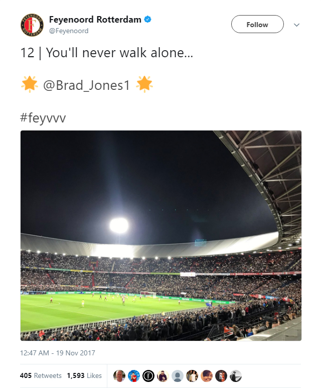Feyenoord fans create a special atmosphere to mark the sixth anniversary of Luca Jones' passing