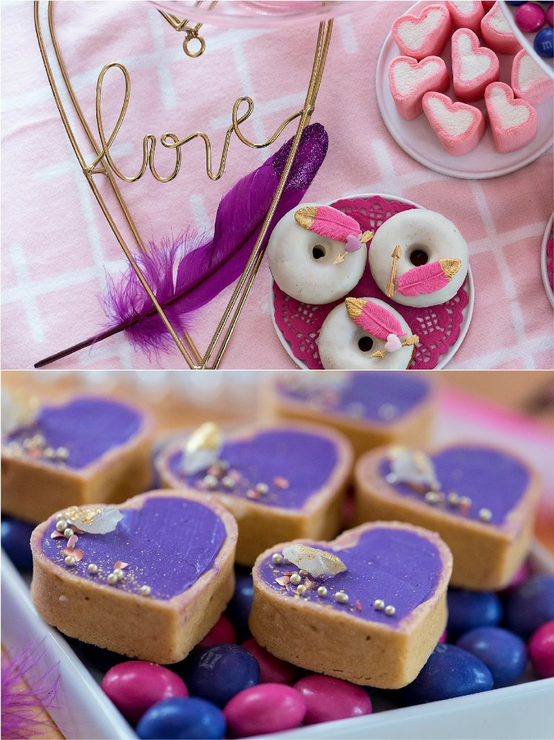 A Sweet Bohemian Valentine's Day Party - beautifully styled ideas, tabletop decor, sweet treats and photo booth ideas in pink, purple and gold! via BirdsParty.com @birdsparty #valentinesday #bohemianparty #bohemianbirthday #partyideas #pinkgoldparty