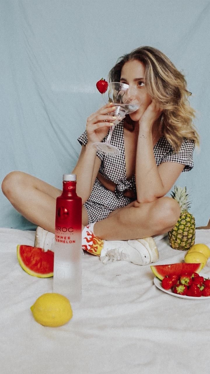 Aoife Malone Holding Ciroc Vodka
