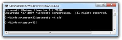 Tắt Hibernate trên windows 7 với cmd