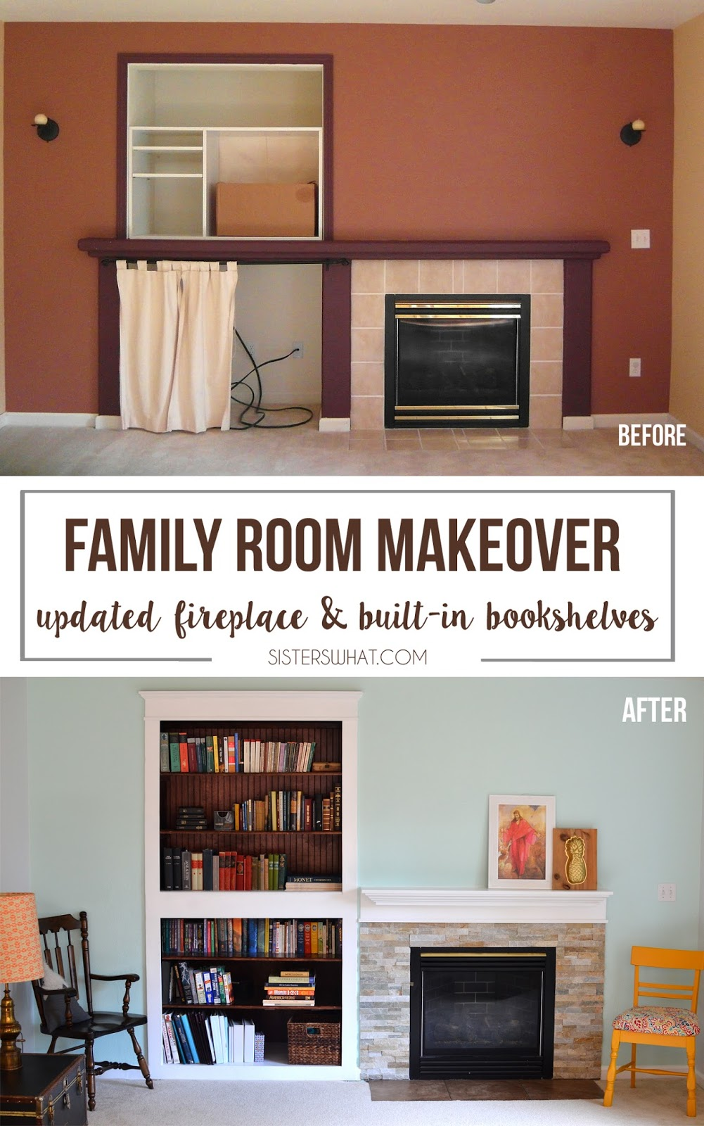 Family Room makeover with new built in bookshelves and a new mantel with new tile around the fire.