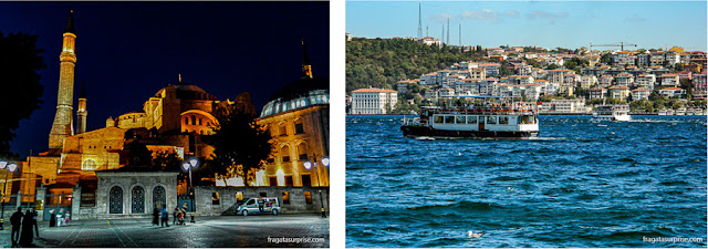 A Basílica de Santa Sofia e o Estreito de Bósforo, em Istambul