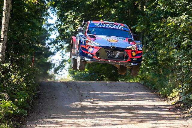Hyundai i20 WRC Car Jumping in Rally Estonia
