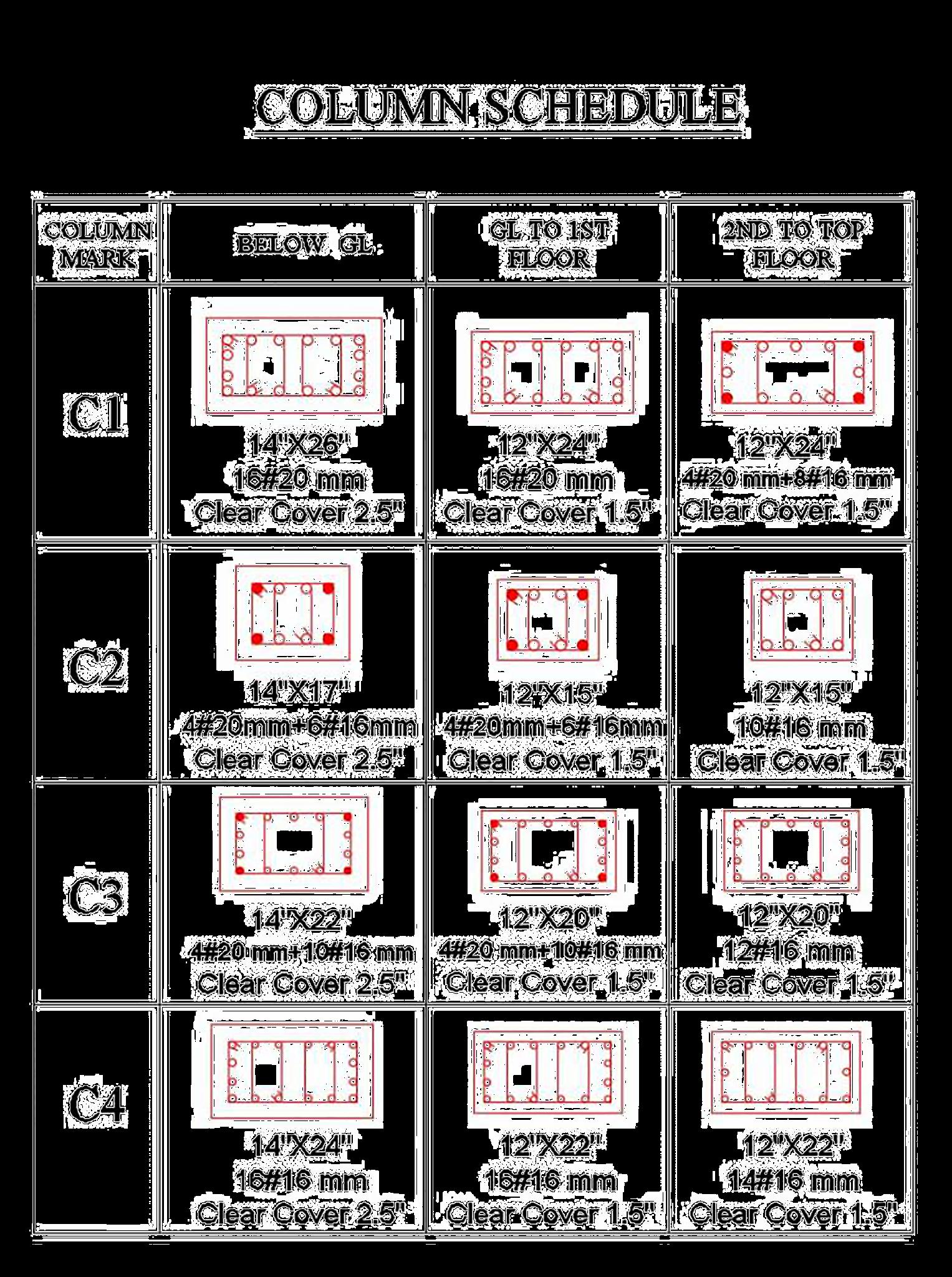 6 Storey Building Column Schedule