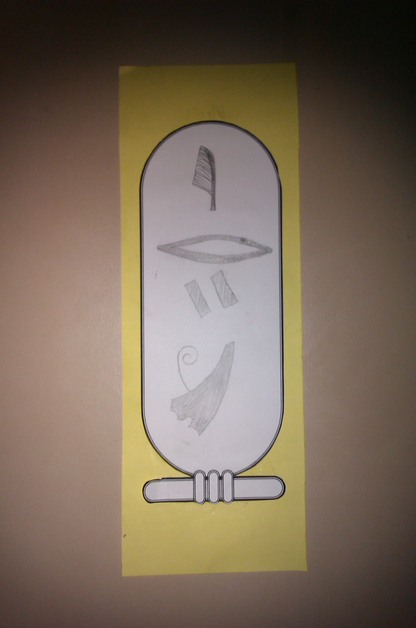 activities for kids egyptian cartouche name tag. Black Bedroom Furniture Sets. Home Design Ideas