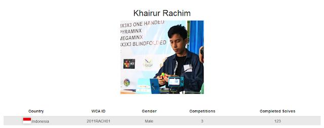 Profile akun WCA dari Khairur Rachim yang merupakan peringkat kelima nasional dalam menyelesaikan rubik dengan satu tangan