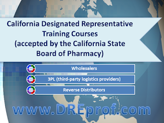 California Designated Representative Online Training Courses. Board-approved. Earns a training affidavit accepted by the Board. 3 distinct classes for: wholesalers, 3PL, reverse distributors. 6,000 students trained.