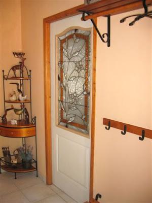 Vitrail porte intérieure, verres biseautés