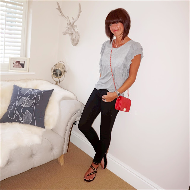 My Midlife Fashion, J Crew matches skinny jeans, Uterque grey marl top, red quilted across body bag, iro studded sandals