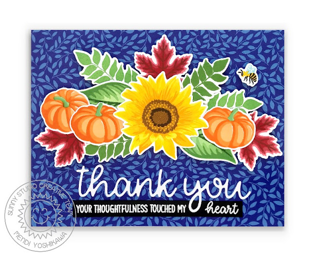 Sunny Studio Layered Pumpkins & Leaves Fall Thank You Card (using Crisp Autumn, Sunflower Fields, Words of Gratitude Stamps, Thank You Word Dies & Sweater Weather Paper)