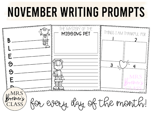 November writing templates for daily journal writing or a writing center in Kindergarten First Grade Second Grade