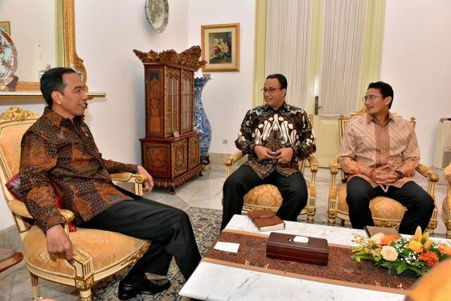 Ini Yang Dibahas Anies-Sandi Saat Bertemu Jokowi