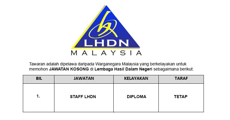 Jawatan Kosong Lembaga Hasil Dalam Negeri LHDN