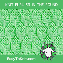 Moss Diamond and Lozenge Knit Purl, easy to knit in the round