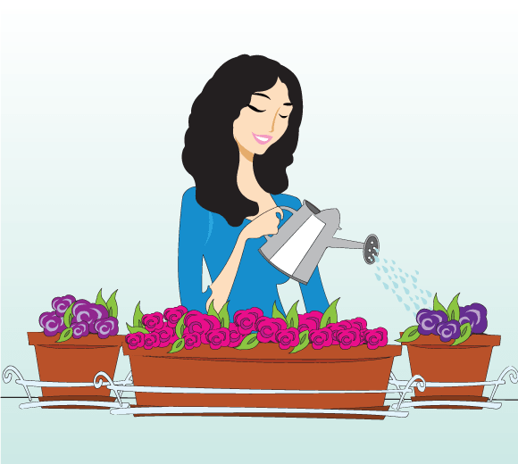 Mujer regando flores, plantas y macetas de su balcón o terraza