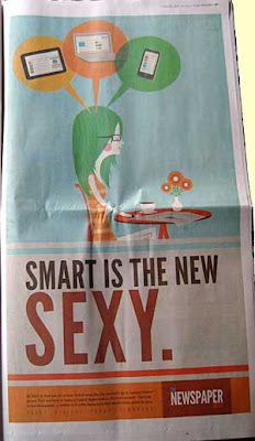 Full-page newspaper ad with graphic cartoony illustration, headling Smart is the new sexy