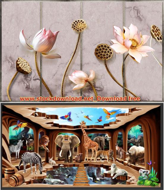 vector tranh dán tường hoa sen 3d free
