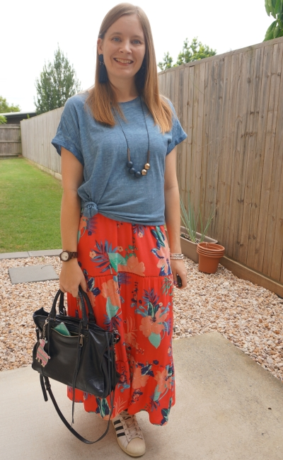 tee knotted over kmart tiered coral floral print maxi dress with adidas superstar sneakers | away from the blue