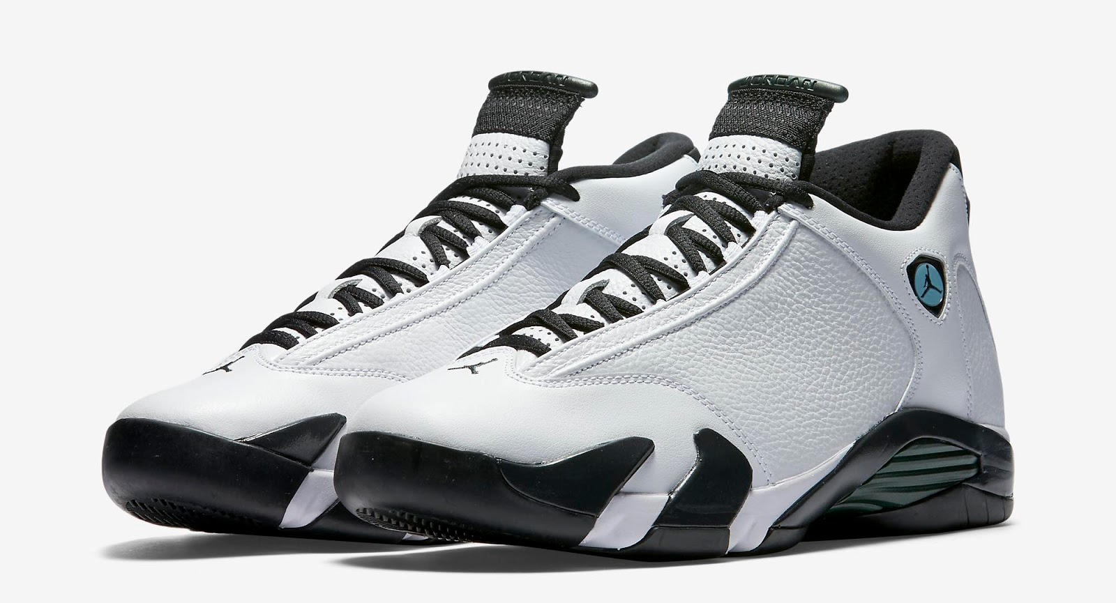 newest 3f821 c7f2f Air Jordan 14 Retro White Black-Oxidized Green-Legend Blue Release Reminder