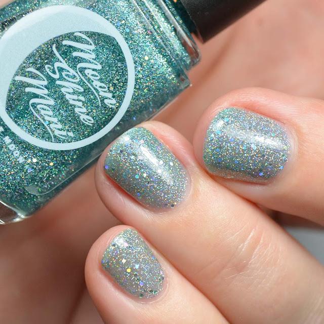 teal holographic glitter nail polish