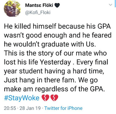 Final year student kills himself due to his poor GPA  and he couldn't graduate with his mates