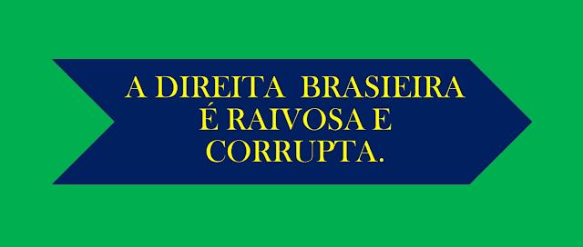 A imagem diz:a direita brasileira é raivosa e mentirosa.