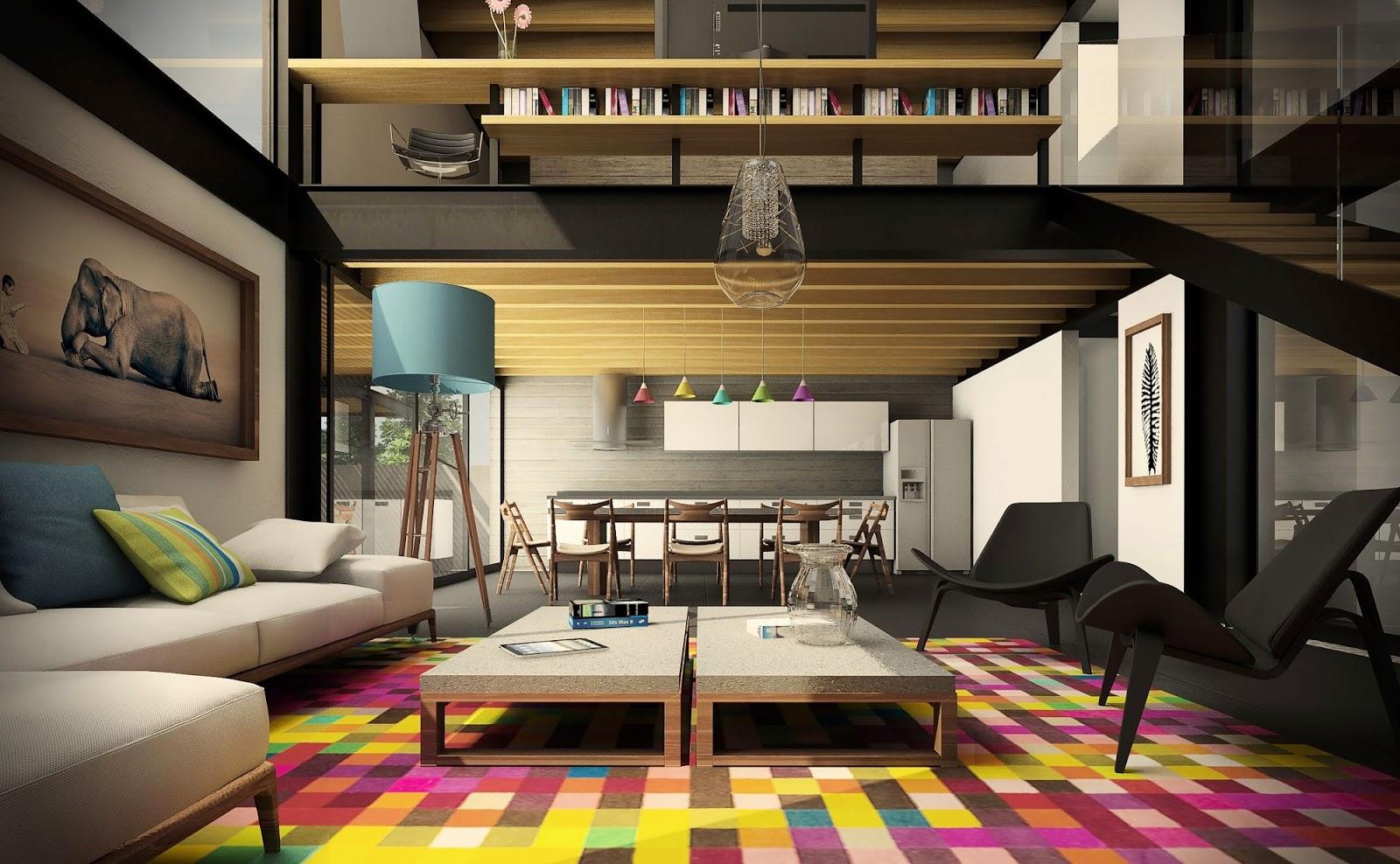Ehrfürchtig stilvolle städtische Wohnzimmer-Räume - Modernes Haus Design