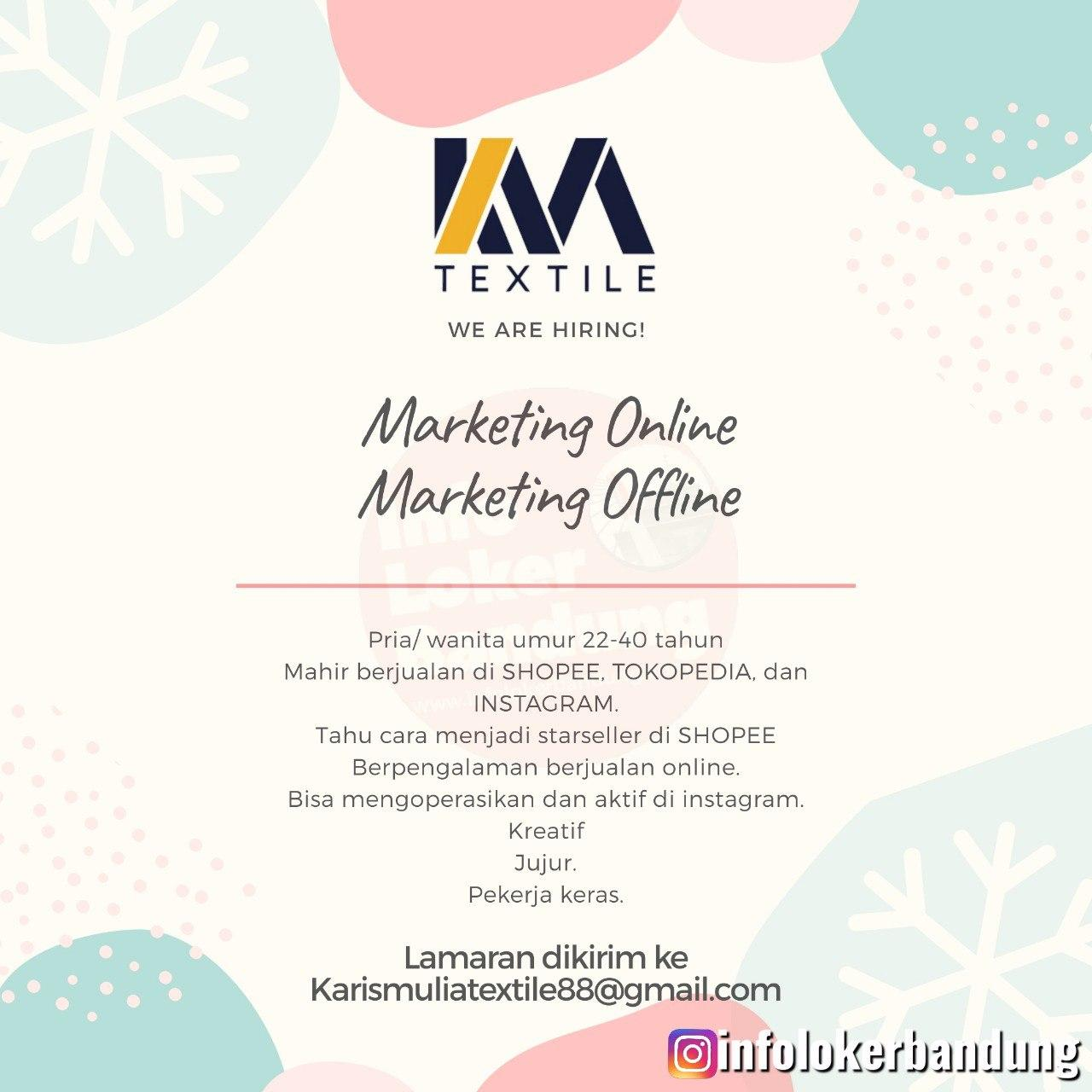 Lowongan Kreja Marketing Online & Marketing Offline Karis Mulia Textile Bandung April 2020