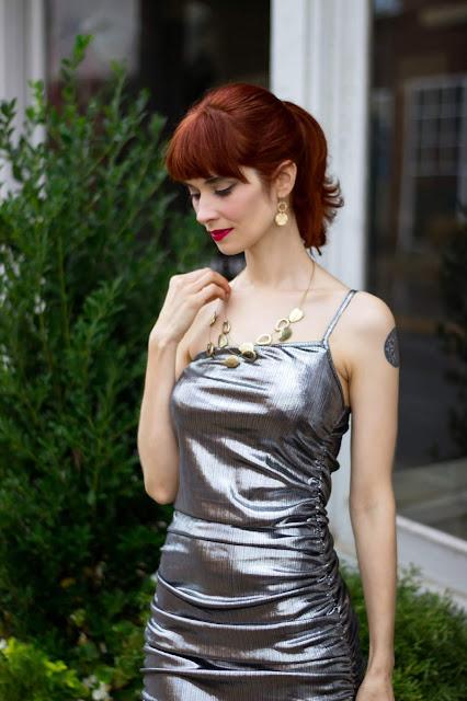 Silver Metallic One Shoulder Midi Dress - Viola from FemmeLuxeFinery.co.uk
