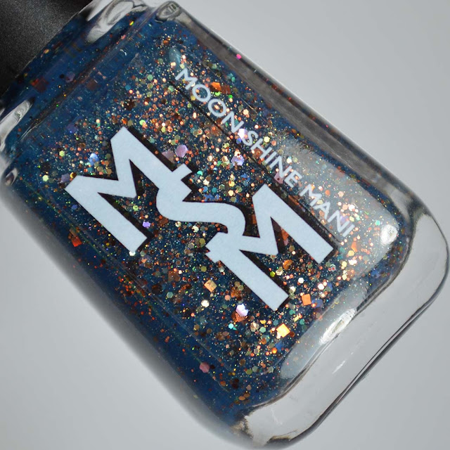 navy jelly nail polish with glitter in a bottle