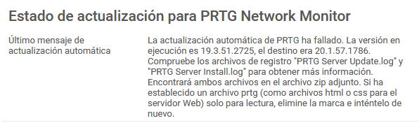 PRTG: Actualizaciones