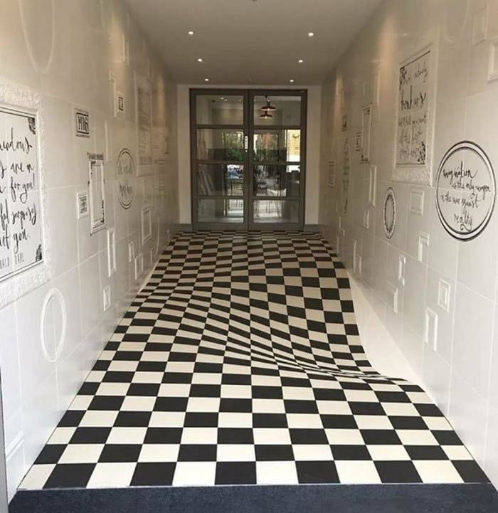 A perfectly flat floor, designed to stop children from running in the hallway.