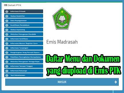 Daftar Menu dan Dokumen yang diupload di Emis PTK