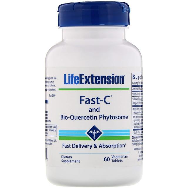 Life Extension, Fast-C с фитосомами биокверцетина, 60 вегетарианских таблеток