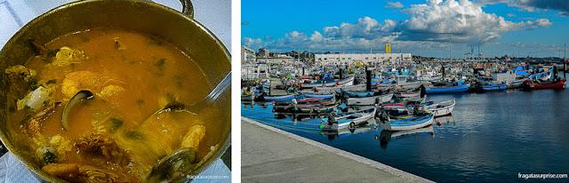 Arroz de mariscos servido em Setúbal e o porto pesqueiro da cidade