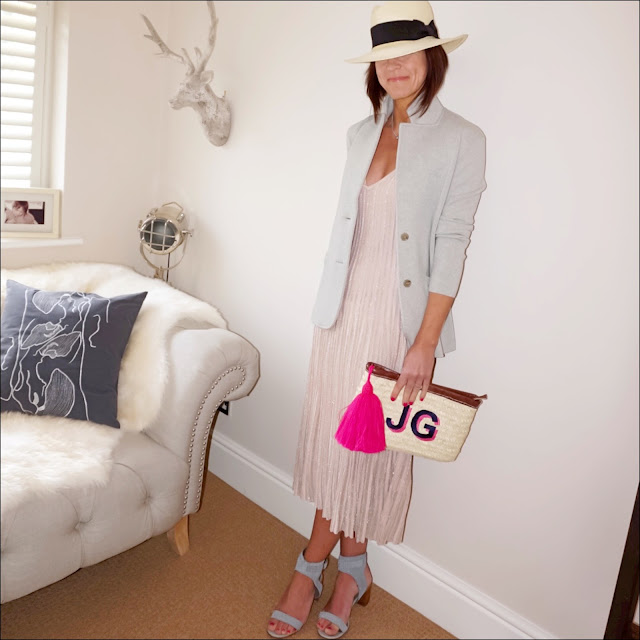 my midlife fashion, j crew merino wool knitted blazer, handm panama hat, handm sparkly knitted dress, initially london ibiza clutch, marks and spencer block heel studded sandals