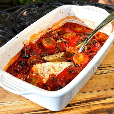 Baked Greek Feta with Barbecued Red Pepper, Tomatoes & Mountain Oregano
