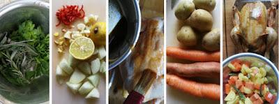 Knuspriges Brathähnchen (mit Butterschmalz) und Ofengemüse - Zubereitung
