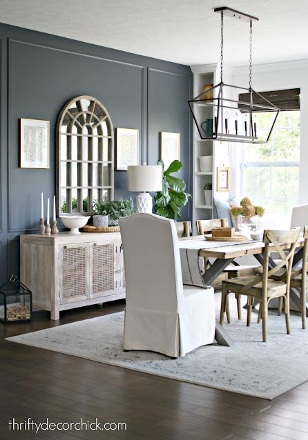 dining room with light wood furniture