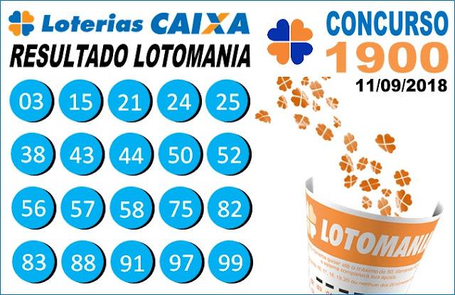 Resultado da Lotomania concurso 1900 de 11/09/2018 (Imagem: Informe Notícias)