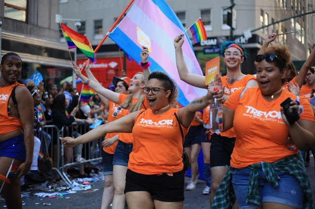 Image: The Trevor Project during a Pride parade